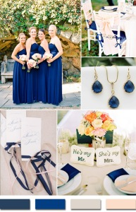 2015 trends navyblue and blush Table Settings, Bridesmaids and Chair Mandy Mayberry via RuffledFans Harwell Photography via Style Me Pretty